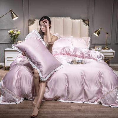 2021新款水洗真丝公主风蕾丝四件套 1.5m床单款四件套 粉红色