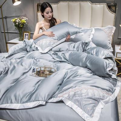 2021新款水洗真丝公主风蕾丝四件套 1.5m床单款四件套 高级灰