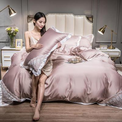 2021新款水洗真丝公主风蕾丝四件套 1.5m床单款四件套 香槟色