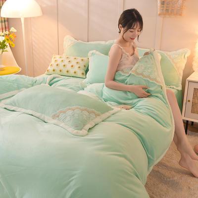 2021秋冬新款水晶绒公主系列四件套 1.2m床单款三件套 碧绿