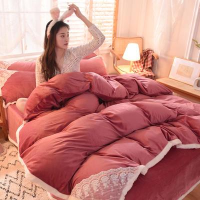 2021秋冬新款水晶绒公主系列四件套 1.5m床单款四件套 豆沙