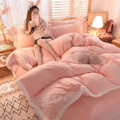 2021秋冬新款水晶绒公主系列四件套 1.2m床单款三件套 粉玉