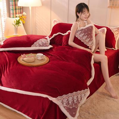 2021秋冬新款水晶绒公主系列四件套 1.2m床单款三件套 酒红