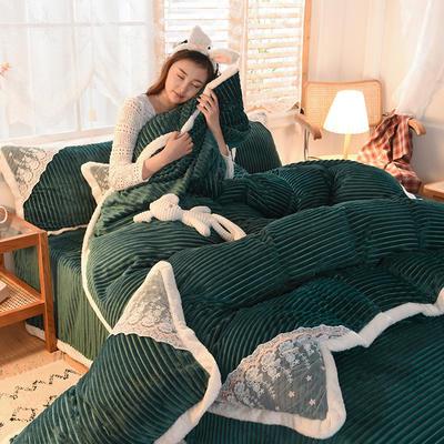 2021秋冬新款水晶绒公主系列四件套 1.2m床单款三件套 松石绿