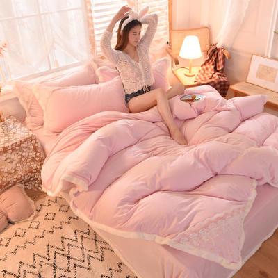 2021秋冬新款水晶绒公主系列四件套 1.2m床单款三件套 浅粉
