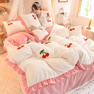 2021秋冬新款毛巾绣兔兔绒系列四件套 1.2m床单款三件套 樱桃