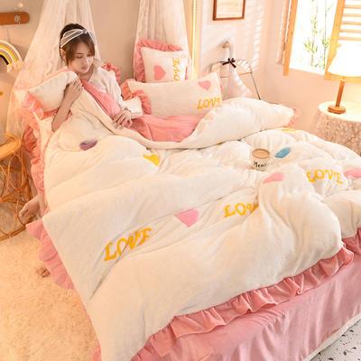 2021秋冬新款毛巾绣兔兔绒系列四件套 1.2m床单款三件套 倾心