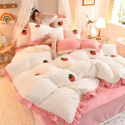 2021秋冬新款毛巾绣兔兔绒系列四件套 1.2m床单款三件套 草莓