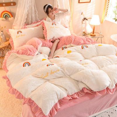 2021秋冬新款毛巾绣兔兔绒系列四件套 1.2m床单款三件套 彩虹