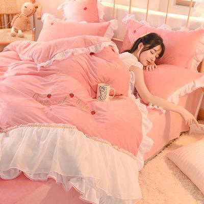 2021秋冬新款水晶绒倾城系列四件套 1.5m床单款四件套 倾城-粉色
