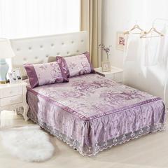2017可拆卸床裙凉席 第二批花型 1.8*2.0cm 鸿运 紫