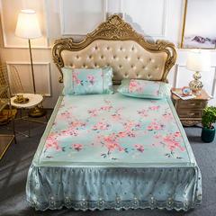 2018夏季床裙冰丝席(印花款) 1.5*2.0m三件套 芬芳花颜