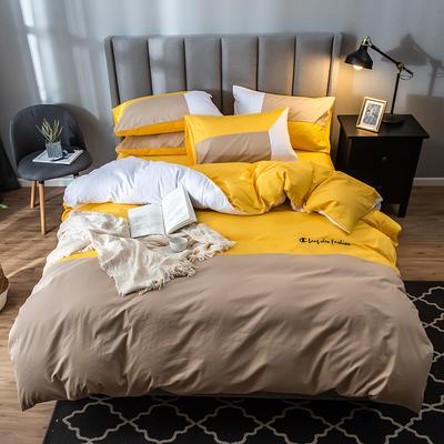 2019新款-全棉喷气13772刺绣亚博app官方下载安卓 1.2m床单款三件套 名爵 黄