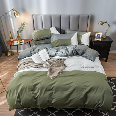 2019新款-全棉喷气13772刺绣四件套 1.2m床单款三件套 雍容 绿