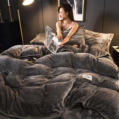 2019新款纯色牛奶绒 系列四件套 1.2m床单款三件套 高级灰