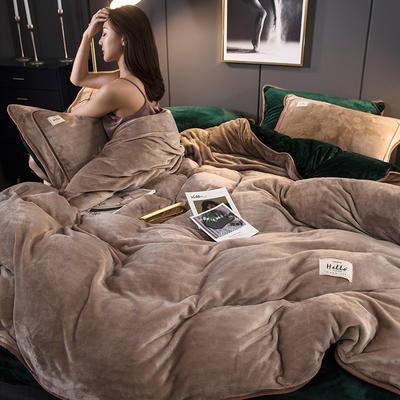 2019新款纯色牛奶绒 系列四件套 1.2m床单款三件套 摩卡