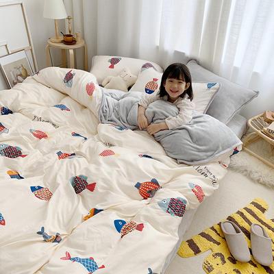 2019新款棉+法莱绒 卡通ins小模特系列四件套 1.2m小号三件套床单款 锦鲤