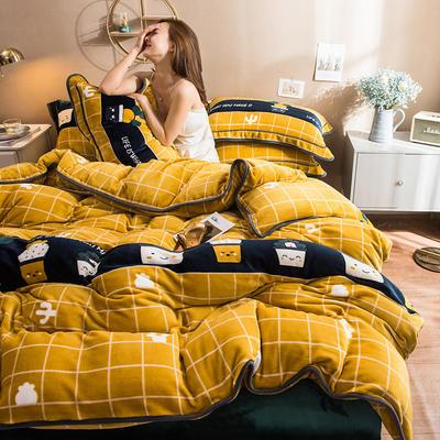2019新款印花牛奶絨四件套 1.2m床單款三件套 仙人掌