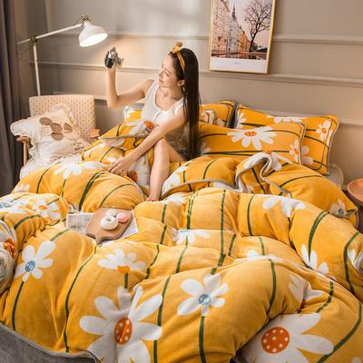 2020新款印花牛奶绒四件套 1.5m床单款四件套 向日葵