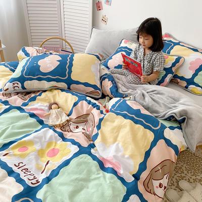 2020新款棉+法莱绒系列四件套 1.2m床单款三件套 甜心女孩