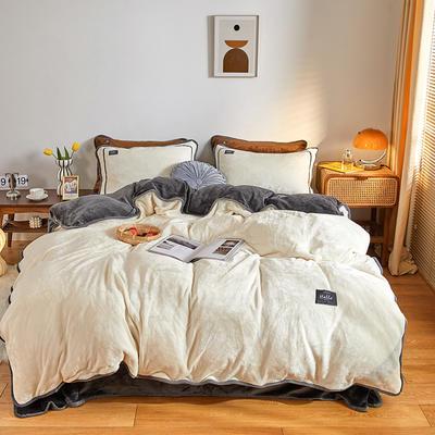 2020新款纯色牛奶绒四件套 北欧风拍摄图片 1.2m床单款三件套 铂爵