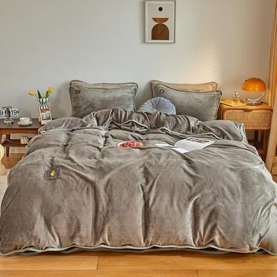 2020新款纯色牛奶绒四件套 北欧风拍摄图片 1.2m床单款三件套 高级灰