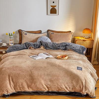 2020新款纯色牛奶绒四件套 北欧风拍摄图片 1.2m床单款三件套 古曼