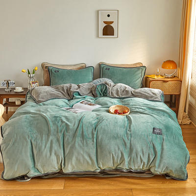 2020新款纯色牛奶绒四件套 北欧风拍摄图片 1.2m床单款三件套 莱卡