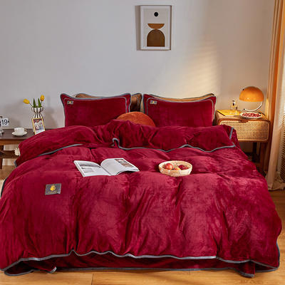 2020新款纯色牛奶绒四件套 北欧风拍摄图片 1.2m床单款三件套 玫瑰红