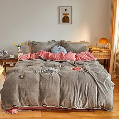 2020新款纯色牛奶绒四件套 北欧风拍摄图片 1.2m床单款三件套 魅色