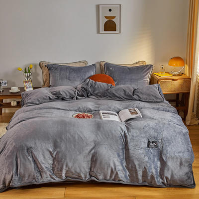 2020新款纯色牛奶绒四件套 北欧风拍摄图片 1.2m床单款三件套 墨蓝色