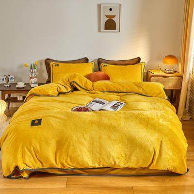 2020新款纯色牛奶绒四件套 北欧风拍摄图片 1.2m床单款三件套 柠檬黄