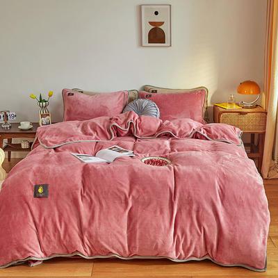 2020新款纯色牛奶绒四件套 北欧风拍摄图片 1.2m床单款三件套 胭脂红