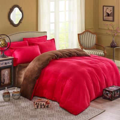 纯色双拼法莱绒系列(四件套) 1.0-1.2m床(三件套) 大红+深咖