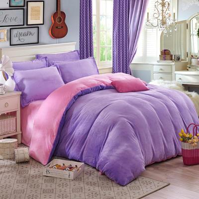 2019新款-纯色双拼法莱绒系列(四件套) 1.0-1.2m床(三件套) 浅紫+粉红