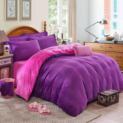 2019新款-纯色双拼法莱绒系列(四件套) 1.0-1.2m床(三件套) 深紫+玫红