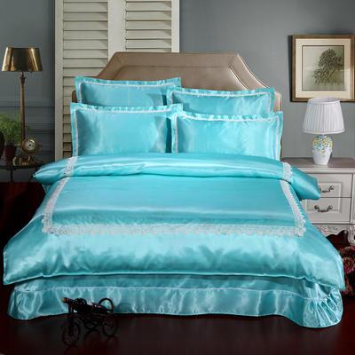 冰丝四件套系列 加大(2.0-2.2m)床 浅蓝色