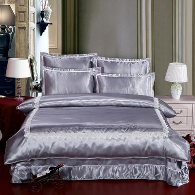 冰丝四件套系列 加大(2.0-2.2m)床 银灰