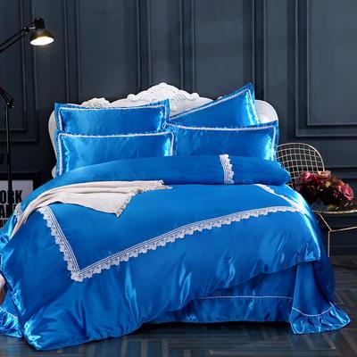 纯色冰丝花边四件套 1.5m(5英尺)床 孔雀深蓝