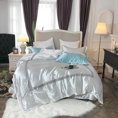 2019新款纯色冰丝花边四件套实拍图 1.8m床 清纯米白