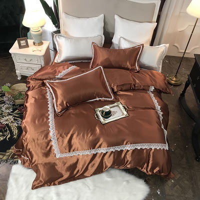 2019新款纯色冰丝花边四件套实拍图 1.5m床 奢华咖啡