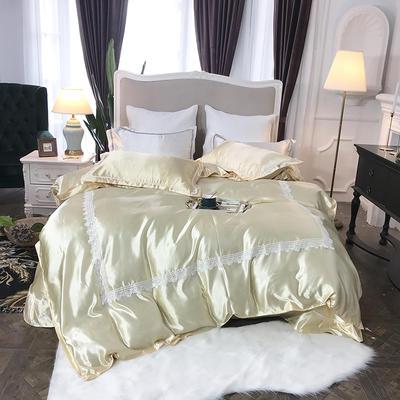 2019新款纯色冰丝花边四件套实拍图 1.5m床 香槟驼色