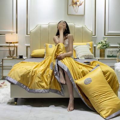 2020新款水洗真丝夏被四件套 1.2米-1.5米床单夏被 安妮 黄+灰