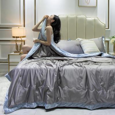 2020新款水洗真丝夏被四件套 1.2米-1.5米床单夏被 安妮 灰+浅蓝