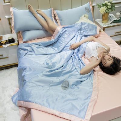 2020新款水洗真丝夏被四件套 1.2米-1.5米床单夏被 安妮 浅蓝+玉