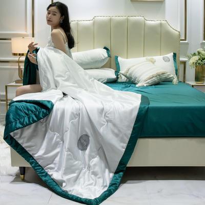 2020新款水洗真丝夏被四件套 1.2米-1.5米床单夏被 安妮 青春白+墨绿