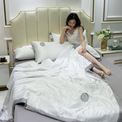 2020新款水洗真丝夏被四件套 1.2米-1.5米床单夏被 安妮 清纯白+灰