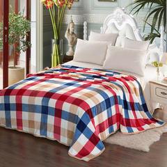 320克云貂绒新款毛毯 100*150 格子-红