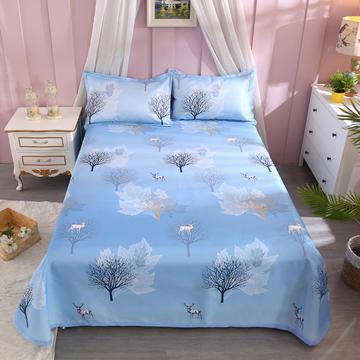 爱情伞毯业   数码印花空调席冰丝席凉席腾席床单式可水洗凉席可折叠凉席 230*250cm三件套 北欧生活-蓝