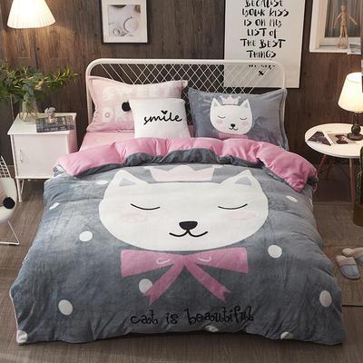 2019加厚卡通大版花法兰绒四件套床单床笠款 1.5m/1.8m床(床单款) 皇冠猫